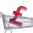 Supermarket trolley with  Sterling sign — Stock Photo #50879099