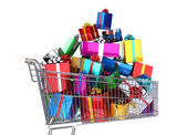 Supermarket trolley full of many multicolored gifts. — Stock Photo