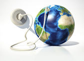 Planet Earth with electric socket. — Stock Photo