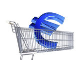 Supermarket trolley with big Euro sign — Stock Photo