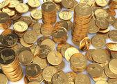 Gold dollar coins spread — Stock Photo