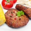 Rissole with veggies - Stock Photo