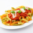 Fusilli Tricolore Bolognese — Stock Photo