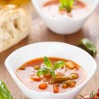 Minestrone - italian soup with veggies — Stock Photo