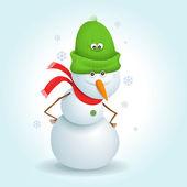 Snowman with green hat — Vector de stock