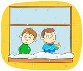 Tow kids watching snowfall — Stock Vector