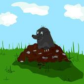 Mole on molehill — Stock Vector