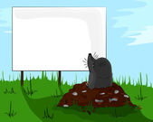 Mole on molehill looking at a billboard. — Stock Vector