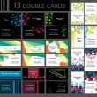 Set of 13 double business cards, — Stok Vektör