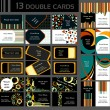 Set of 13 double business cards, — Stock vektor