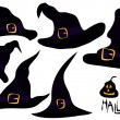 Stock Vector: Set of witches hats