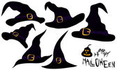 A set of witches hats — Stock Vector