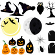 Set of graphic elements and symbols for halloween. — Stock Vector