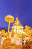 Night light wat phrathat doi suthep temple of thailand at chiang — Stock Photo