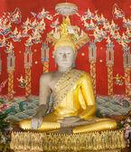 Bouddha et la peinture de fond dans la pagode temple ayutthaya — Photo