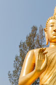 Haft body of buddha with blue sky at temple — Stock Photo