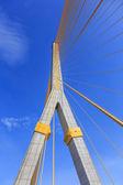 Blue sky with brigde and cable yellow at bangkok thailand  — Stock Photo