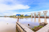 Sport fishing in front  of dam at bangkok — Stock Photo