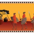 African Warriors going to the their Village — Stock Vector
