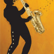 Stock Vector: Saxophonist