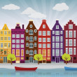 City illustration (Amsterdam) - Stock Vector