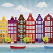 Stock Vector: City illustration (Amsterdam)