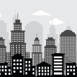 Cityscape (black & white) - Stock Vector