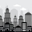 Cityscape (black & white) — Stock Vector