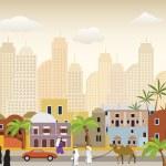 Oriental city illustration — Stock Vector