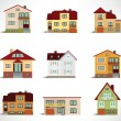 Collection of urban houses — Vettoriali Stock