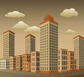 Town in Perspective (sepia colors) — Stock Vector