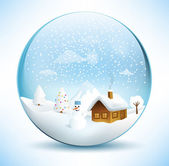 Christmas Sphere Scenery — Stock Vector