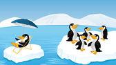 Pingüinos divertidos — Vector de stock