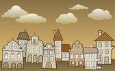 Small city (retro colors) — Stock Vector