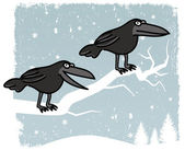 Crows sitting on the Tree (Winter Scenery) — Stock Vector
