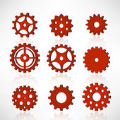 Red tooth wheels — Stock Vector