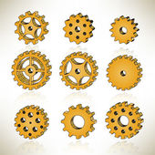 3D Tooth Wheels — Wektor stockowy