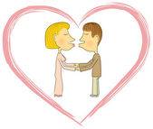 Couple of young lovers — Stock Vector