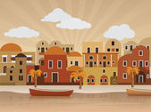 Oriental city (retro colors) — Stock vektor