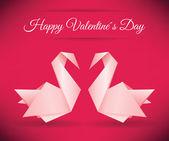 Swans Origami (Happy Valentine day) — Stock Vector