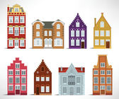 8 old houses — Stock Vector