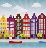 City illustration (Amsterdam) — Stock Vector