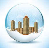 Christmas sphere - city (sepia colors) — Stock Vector