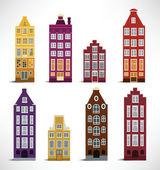 8 Holland Houses — Stock Vector