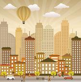 Flat city life (retro colors) — Stock Vector