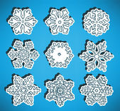 Hand drawn snow flakes collection — Stock Vector
