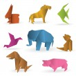 Origami animals — Stock Vector