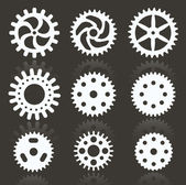 Tooth wheels (black & white) — 图库矢量图片