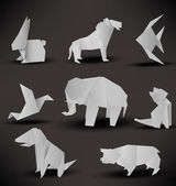 Origami animals (black & white) — Stock Vector