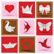 Origami animals & love symbols — Image vectorielle